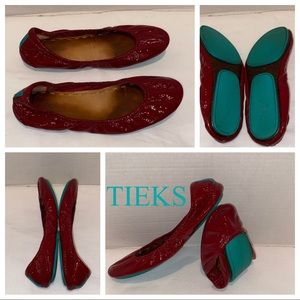 RARE TIEKS Red Patten Leather Red Diamond Sz 8